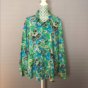 Foxcroft Blue & Green Paisley Button Down
